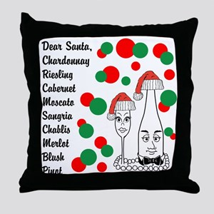 Christmas Wine List Throw Pillow