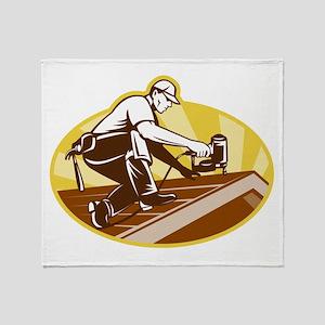 roofer roofing worker Throw Blanket
