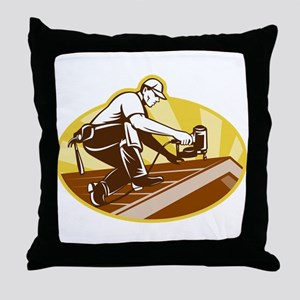 roofer roofing worker Throw Pillow