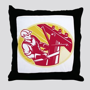 telephone line worker Throw Pillow