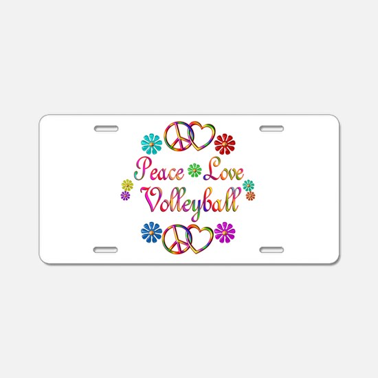 Peace Love Volleyball Aluminum License Plate