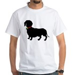 Christmas or Holiday Dachshund Silhouette White T-