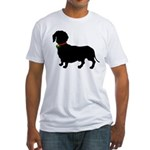 Christmas or Holiday Dachshund Silhouette Fitted T