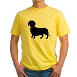 Christmas or Holiday Dachshund Silhouette Yellow T