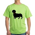 Christmas or Holiday Dachshund Silhouette Green T-