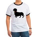 Christmas or Holiday Dachshund Silhouette Ringer T