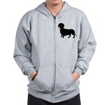 Christmas or Holiday Dachshund Silhouette Zip Hood