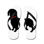 Christmas or Holiday Dachshund Silhouette Flip Flo