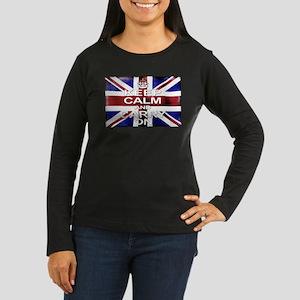 Keep Calm Union Jack Women's Long Sleeve Dark T-Sh