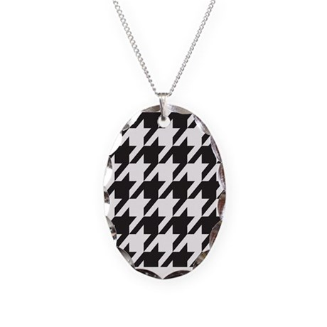 Alabama Houndstooth Necklace Oval Charm