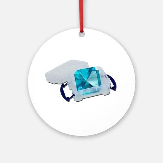 Blue Gem Plastic Crate Ornament (Round)