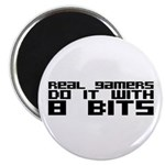 "Real Gamers Do It With 8 Bits 2.25"" Magnet (1"