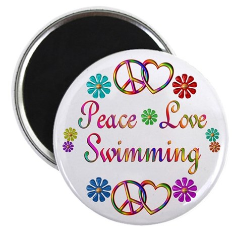 """Peace Love Swimming 2.25"""" Magnet (100 pack)"""