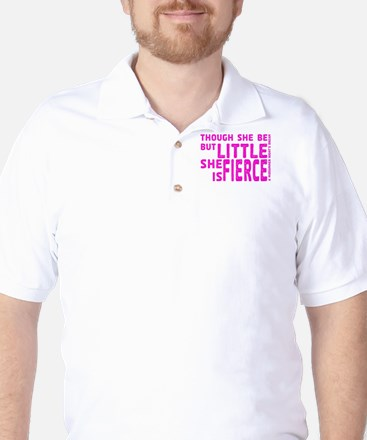 She is Fierce - Stamped Pink Golf Shirt