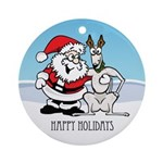 Santa & Greyhound Ornament (Round)