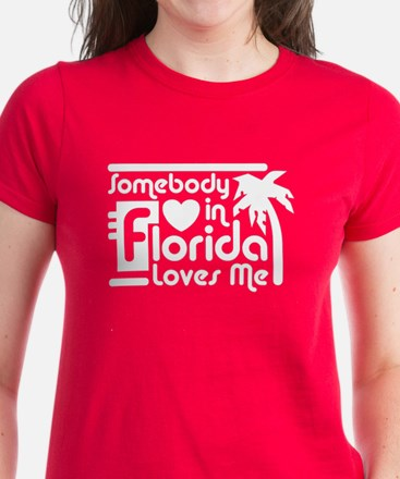 Somebody In Florida Loves Me Women's Dark T-Shirt