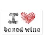 I Love Boxed Wine Sticker (Rectangle)