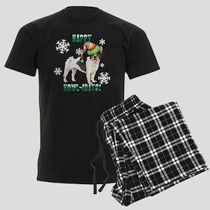 Holiday French Bulldog Men's Dark Pajamas