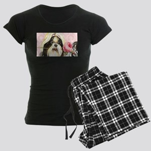 Shih Tzu Rose Women's Dark Pajamas
