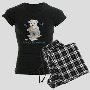 Westie Ate Homework Women's Dark Pajamas