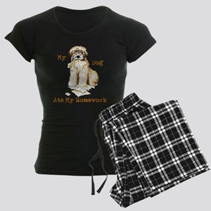 Wheaten Ate Homework Women's Dark Pajamas