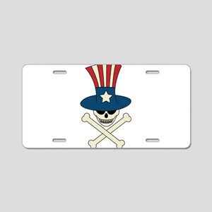 Uncle Sam and Crossbones Aluminum License Plate
