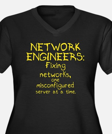 Network Engineers Women's Plus Size V-Neck Dark T-
