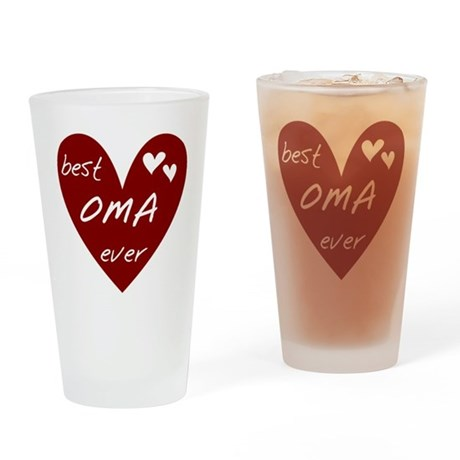 Heart Best Oma Ever Drinking Glass