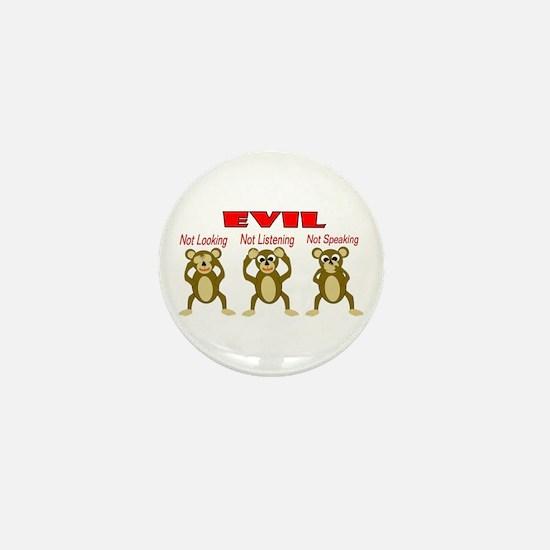 Three Wise Monkeys Mini Button
