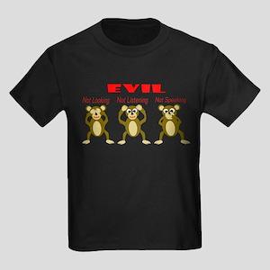 Three Wise Monkeys Kids Dark T-Shirt