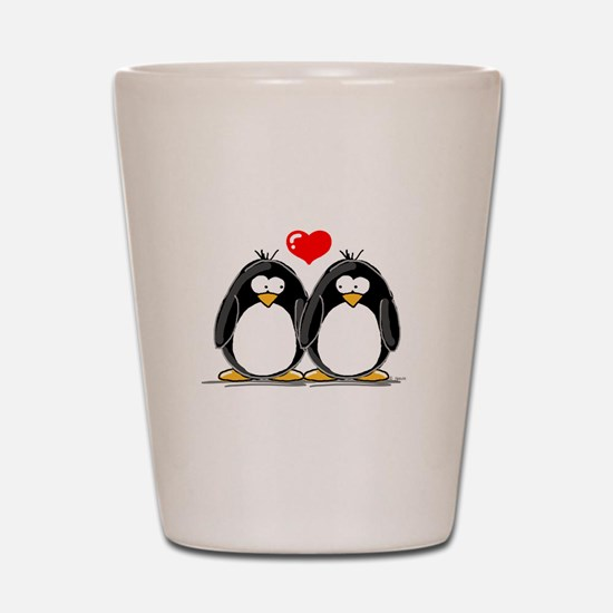 Love Penguins Shot Glass