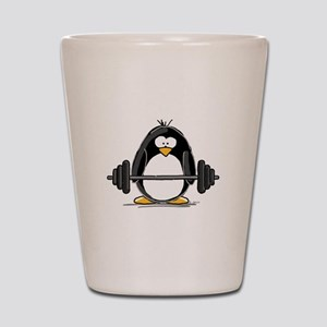 Weight lifting penguin Shot Glass
