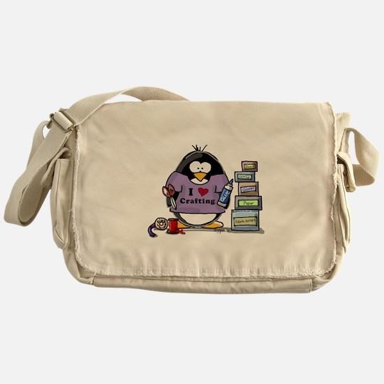 I love crafting penguin Messenger Bag