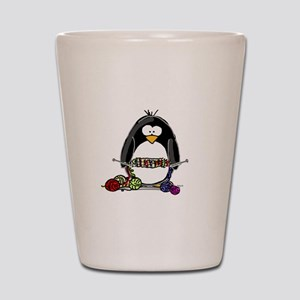 Knitting Penguin Shot Glass