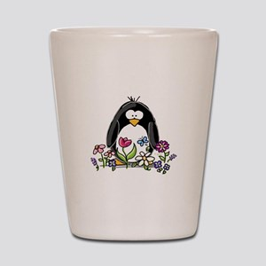 Garden penguin Shot Glass
