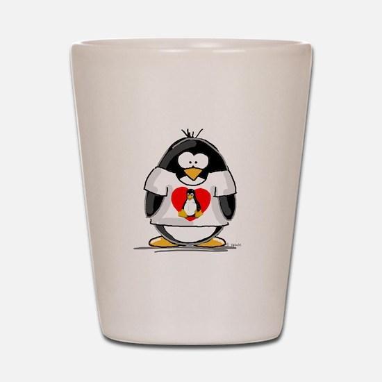 Heart tux Penguin Shot Glass
