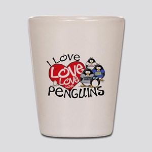 I Love Love More Penguins Shot Glass