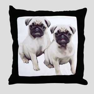 Pugs sitting Throw Pillow