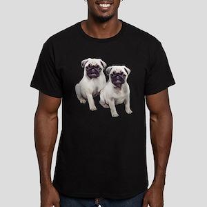 Pugs sitting Men's Fitted T-Shirt (dark)