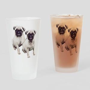 Pugs sitting Drinking Glass