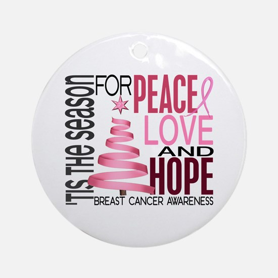 Christmas 1 Breast Cancer Ornament (Round)