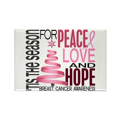 Christmas 1 Breast Cancer Rectangle Magnet (100 pa