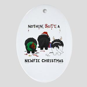 Newfie Butt Xmas Ornament (Oval)