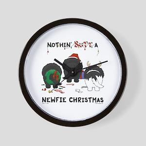 Newfie Butt Xmas Wall Clock