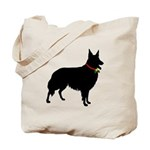 Christmas or Holiday Collie Silhouette Tote Bag