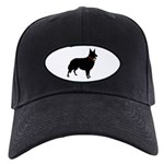Christmas or Holiday Collie Silhouette Black Cap