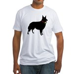 Christmas or Holiday Collie Silhouette Fitted T-Sh