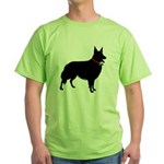 Christmas or Holiday Collie Silhouette Green T-Shi