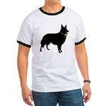 Christmas or Holiday Collie Silhouette Ringer T