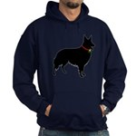 Christmas or Holiday Collie Silhouette Hoodie (dar